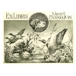 Michel Pannequin - Birds: three duck and one dog